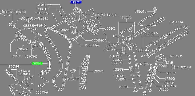 Timing Chain Guide (Slack Side) SR20DET / SR20 Engines