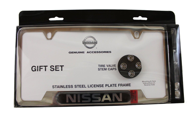 Genuine Nissan License Plate Frame & Valve Stem Cap Combo - Nissan ...